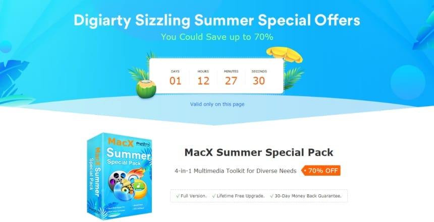 MacX Summer Special Pack screen
