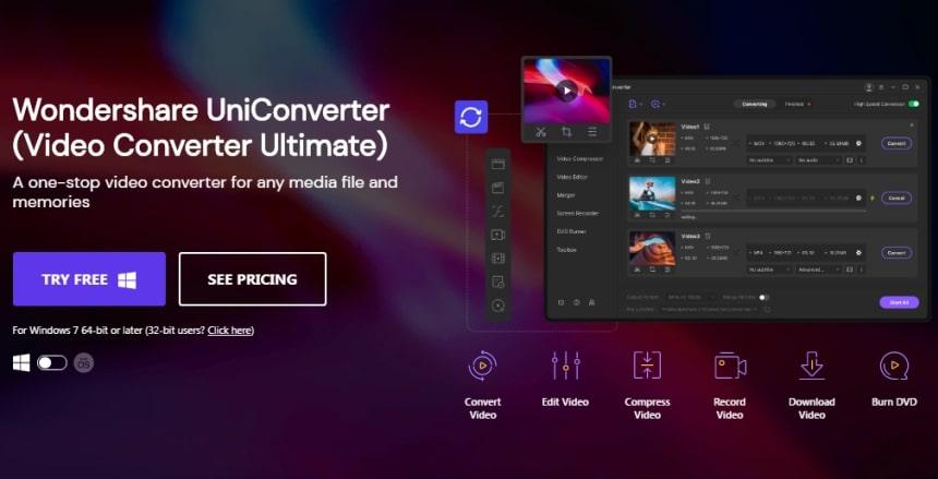 Wondershare uniconverter screen