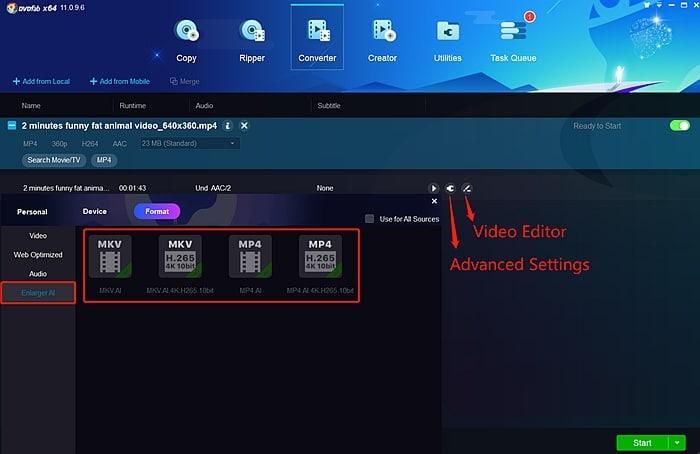 DVDFab Enlarger AI advanced settings