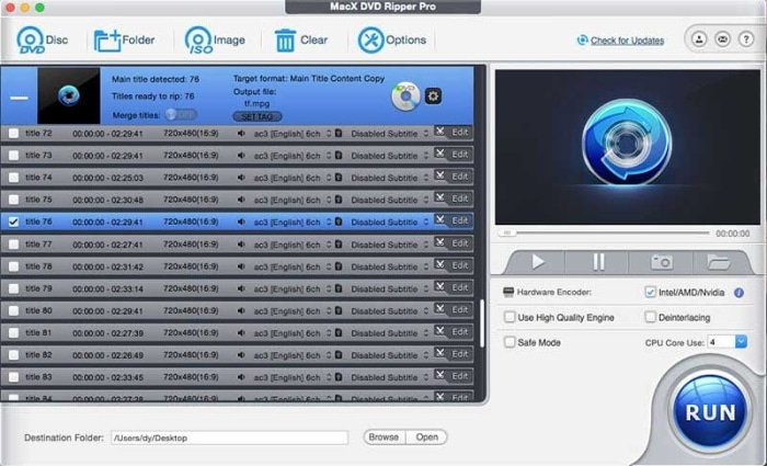 MacX DVD Ripper Pro interface